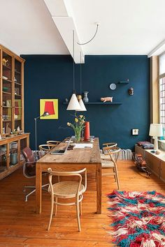 The Best Paint Colors from Sherwin Williams: Go a little bit darker to tone down the boldness without losing the impact, as in this stylish dining room. Try Oceanside to get this look. House Design, Eclectic Design, Home Decor, House Interior, Home Deco, Room Decor, Dining Room Decor, Interior Design, Home And Living