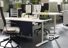 Birourile BEKANT au un sistem de colectare a cablurilor care te ajută să păstrezi ordinea pe birou așa că te poți întoarce oricând cu drag la muncă :) Interior Architecture, Interior Design, Scandinavian Home, Ikea, Office Desk, Modern, Table, Furniture, School