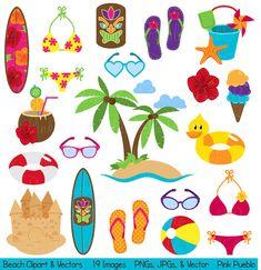 Strand Clipart illustraties, zomer vakantie reizen Clipart illustraties vectoren - commercieel en persoonlijk gebruik