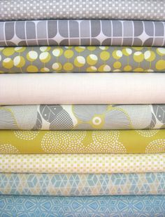 Just ordered this custom bundle from Fabricworm.com for my next project!  Bonnie & Camille Skip Gray Riley Blake Mirrah Leaf Gray Amy Butler Martini Mustard Andover Fabrics Textured Solids Tapioca Amy Butler Optic Blossom Linen Michael Miller Stitch Circle Mustard Bonnie & Camille Skip Yellow Victoria & Albert Diamond Citron Victoria & Albert Starred Citron