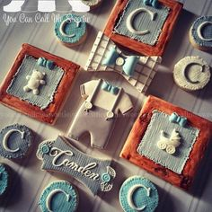 Country Vintage themed baby shower cookies for a boy.