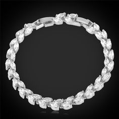 U7 Top Quality Zirconia Bracelet For Women New Trendy Platinum/18K Real Gold Plated Jewelry Shiny Colorful Zircon Bracelet