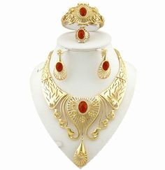 african women jewelry sets  gold plating sets big necklace wedding jewelry sets big fine jewelry sets