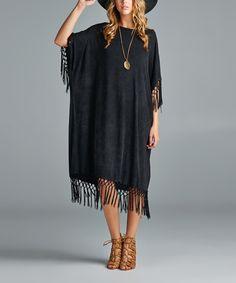 Black Fringe Shift Dress