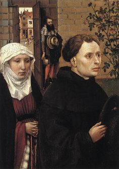 Robert Campin 1425-8 , The Merode Alterpiece, detail -wimple and 2 veils