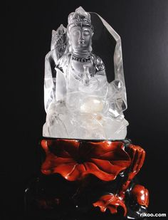"6.0 "" Carved Quartz Rock Crystal Kwan-Yin With Beautiful Carved Stand, via rikoo.com. Stone origin : Madagascar."