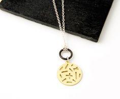 Random lines pattern solar necklace – in silver brass/ bronze @camillette_jewelry