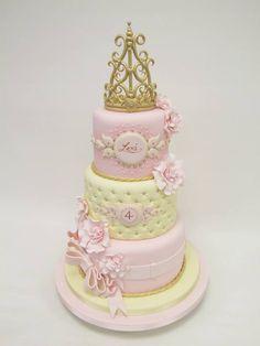 Pink princess cake with tiara crown - Emma Jayne Cake Design