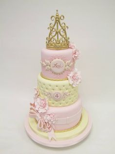 Pink princess cake with tiara crown - Emma Jayne Cake Design