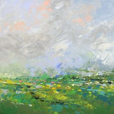 """Abstract Landscape - acrylic painting on canvas - size 56cm x 56cm (22"""" x 22"""")"""