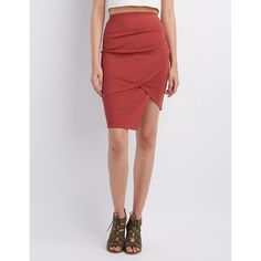 Charlotte Russe Asymmetrical Wrapped Skirt ($6.99) ❤ liked on Polyvore featuring skirts, rust, charlotte russe, knee length pencil skirt, knee length pleated skirt, pencil skirt and bodycon pencil skirt