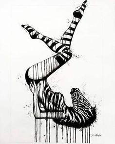Zebra Tattoos, Leg Tattoos, Black Tattoos, Sleeve Tattoos, Tattos, Zebra Drawing, Psychedelic Tattoos, Pen Doodles, Tattoo Designs And Meanings