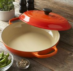 Le Creuset Flame Braiser, 3½ qt. I keep scouring Ebay for one, but they are all too expensive.