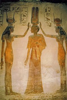 Painting inside the Queens Temple of Abu Simbel of the Goddesse Isis (right) and Hathor (left) blessing-the Queen Isis Goddess, Egyptian Goddess, Ancient Egyptian Art, Ancient Aliens, Ancient History, European History, Ancient Greece, Egyptian Mythology, Ancient Artifacts