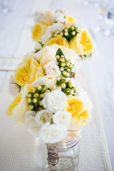 yellow and cream flowers
