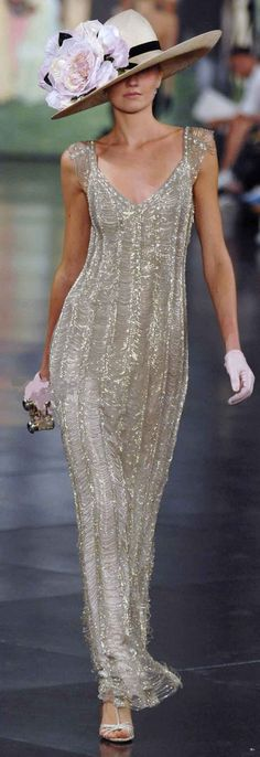 Ralph Lauren silver beaded dress with flower embellished hat