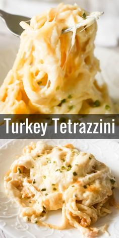 Turkey Tetrazzini - This is Not Diet Food Turkey Tetrazzini is a creamy and cheesy baked pasta recipe perfect for using up leftover Thanksgiving turkey. This creamy spaghetti is loaded with shredded turkey, cream cheese, Parmesan and mozzarella. Easy Leftover Turkey Recipes, Leftover Turkey Casserole, Leftovers Recipes, Ground Turkey Recipes, Shredded Turkey Recipe, Cream Turkey Recipe, Dinner Recipes, Turkey Noodle Casserole, Turkey Leftovers
