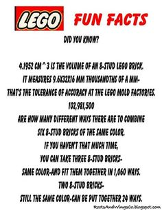 fun facts about legos for goodie bags