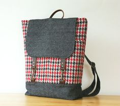 BagyBag - Red Black Hound Wool and Navy Denimwool Backpack | 97.50