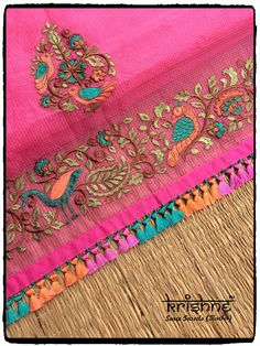 Colourful Tassels for Linen Sarees Diy Embroidery Kit, Embroidery Suits Design, Bead Embroidery Patterns, Embroidery Fabric, Beaded Embroidery, Machine Embroidery, Embroidery Designs, Saree Kuchu New Designs, Saree Tassels Designs