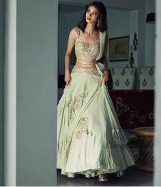 Lehenga with a twist! Indian Gowns, Indian Lehenga, Indian Attire, Indian Bridal Outfits, Indian Designer Outfits, Designer Dresses, Designer Bridal Lehenga, Bridal Lehenga Choli, Lehenga Wedding