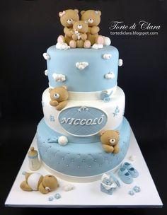 New Cupcakes San Valentn Fondant Teddy Bears Ideas Fondant Teddy Bear, Teddy Bear Cakes, Teddy Bears, Baby Girl Cakes, Baby Birthday Cakes, Cupcakes For Boys, Occasion Cakes, Cute Cakes, Baby Shower Cakes
