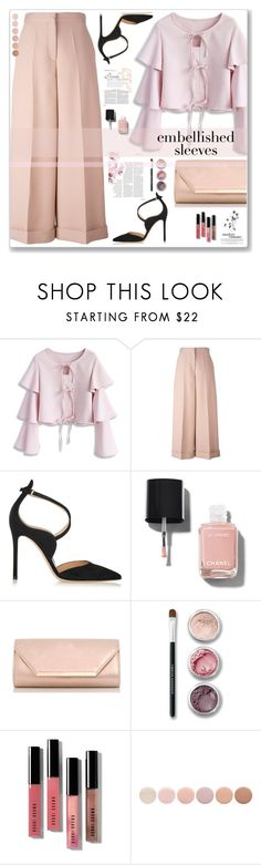 """Embellished Sleeves"" by cowseatchard ❤ liked on Polyvore featuring Chicwish, Valentino, Gianvito Rossi, Chanel, Dorothy Perkins, Bare Escentuals, Bergdorf Goodman and Deborah Lippmann"