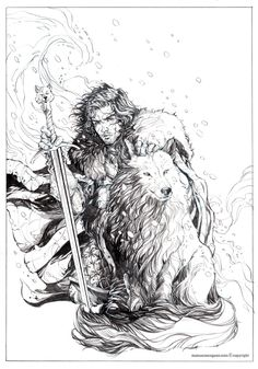 Gameofthrones Fanart Fantastic Illustration Of Jon Snow And Ghost By Manuel Morgado Find This Pin More On Game Thrones Coloring
