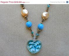 September Sale 10 Vintage Necklace with Blue by AprilSnowJewelry, $10.80
