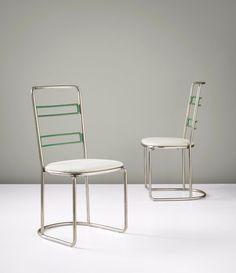 Axel Einar Hjorth; Enameled and Nickel-Plated Metal 'Stål' Chairs for Nordiska Kompaniet, 1930s.