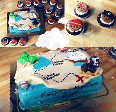 Mapa skarbów i piraci - oj będzie smakowało, tort i mufiny na pirackie urodziny :)