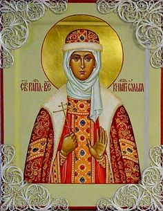 Святая равноапостольная княгиня Ольга, с декоративными серебряными элементами