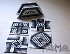 Black and white set coasters perler