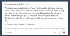 I hated Chaol for most of QoS Throne Of Glass Quotes, Throne Of Glass Books, Throne Of Glass Series, Queen Of Shadows, Aelin Ashryver Galathynius, Crown Of Midnight, Empire Of Storms, Sarah J Maas Books, A Court Of Mist And Fury