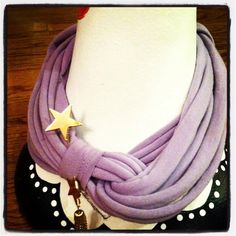 Purple tee shirt scarf with a gold star pin!  $20, visit, Etsy.com, Trish's Twisteds on Facebook, or email trish@alexisdesigns.us