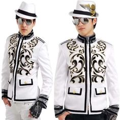 Men White Embroidered Dress Emo Goth Prom Suit Jackets Blazers Best  SKU-11401295
