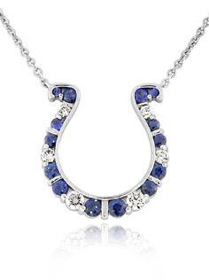 Reis-Nichols Jewelers : GO BLUE Medium Sapphire and Diamond Horseshoe Necklace