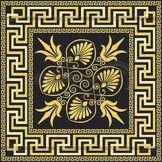 Традиционные старинные золотые греческий орнамент (меандр)   Векторный клипарт   ID 4167642