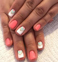 Coral nails. Mint nails. White nails. Gold nails. Summer nails. California nails. Gel nails. Summer nails.