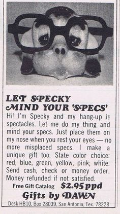 """""""Specky"""" Minds Your Specs - Ad 1972"""