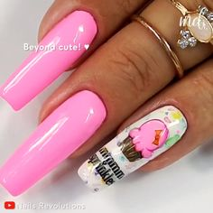 These nails are so muffin cute! 🧁You should try this mani! By Nails Revolutions on Youtube Nail Art Designs Videos, Nail Designs, Love Nails, Pretty Nails, Sponge Nail Art, Pastel Nail Art, Acrylic Nails, Gel Nail, Ring Finger