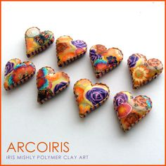 Polymer Clay Heart Pillow Beads ~Sun Shimmer~ by Iris Mishly, via Flickr