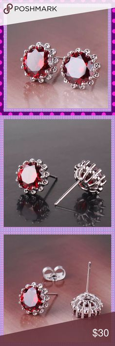 Garnet Stud Earrings ❤️Gorgeous, Luxurious 18K White Gold Filled Garnet Stud Earrings. These are absolutely stunning and look amazing. Dress up or down, either way they will get noticed❤️ Boutique Jewelry Earrings
