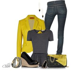 Sunshine and Stripes by chloe-813 on Polyvore