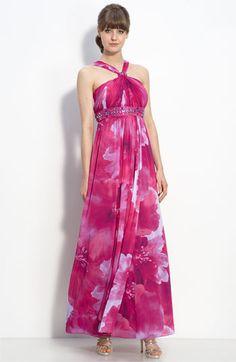 JS Boutique Beaded Chiffon Halter Dress $178