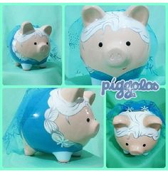 Elsapig Cute Piggies, Pottery Painting, Minions, Fun Crafts, Frozen, Creatures, Piggy Banks, Birthday, How To Make