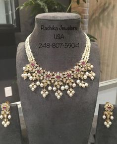 Pearl Necklace Designs, Gold Earrings Designs, Beaded Jewelry Designs, Gold Jewellery Design, Jewelry Patterns, Gold Jewelry, India Jewelry, Diamond Jewellery, Statement Jewelry