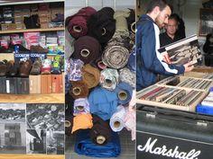 Nog meer winkels! Hier zie je een schoenenwinkel, stoffen en vinyl platen