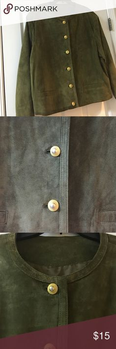 Olive Green Suede Jacket, Size XL Olive Green Suede Jacket with gold accent button closure; Size XL; previously loved; good condition; normal fading on suede very slight; mark on shoulder area from hanging; smoke & pet free; no stains or tears; fully lined with two outer pockets. Jackets & Coats