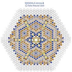 Mandala z koralików - schemat kolorystyczny Beading Techniques, Beading Tutorials, Beaded Bracelet Patterns, Beading Patterns, Seed Bead Projects, Fabric Origami, Beaded Boxes, Bead Crochet Rope, Crafts